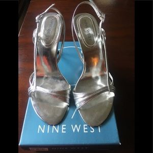 Nine West Silver Leather Heels